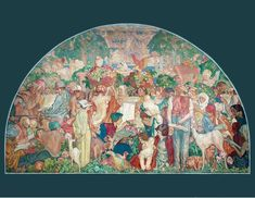 The Printed Word Makes the People of the World One by Sir Frank Brangwyn, Mural for the entrance hall of Odham Press, London. Oil on tempera canvas washed-in with tempera. Tempera, People Of The World, First World, New Art, Modern Art, Vintage World Maps, Hero, Murals, Mural Art