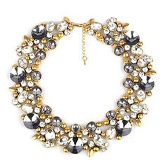 5 Daisy Dot Flower Cluster Bubble Gold Tone Boutique Statement Necklace & Earrings Set (Bright Pink)