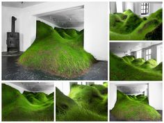 Norway-based artist Kristian Nygård has created this green cascade of grass in an Oslo gallery (Norway), sweeping and swerving throughout the space. The installation named 'not red but green' comprises a natural, undulating terrain, spilling out from the entrance doorframe and pressing up again…