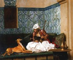Jean-Leon Gerome Arnaut Blowing Smoke in His Dog's Nose hand painted oil painting reproduction on canvas by artist Norman Rockwell, Jean Leon, Blowing Smoke, Greyhound Art, Dog Nose, Academic Art, Ludwig, Caravaggio, A4 Poster