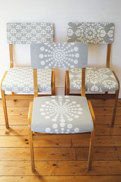 Church chairs reinvented using the Lodi, Kota and Santushti Stencils from Nicolette Tabram nicolettetabram.co.uk #stencils #nicolettetabramstencils #paintedfurniture