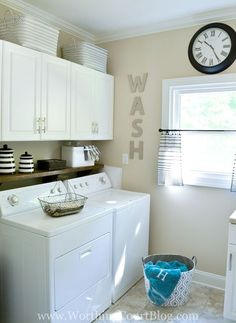 A light and bright remodeled laundry room filled with farmhouse touches