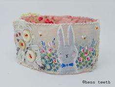 Hand painted textile bracelet https://www.etsy.com/uk/shop/hensteeth?ref=hdr_shop_menu