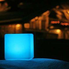 In use outdoors, blue illumination