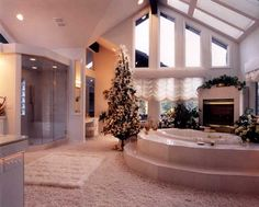 Dream bathroom minus the Christmas decorations!