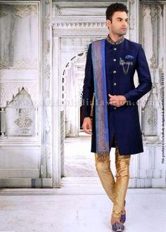 f550226a86 Status Designer Mens Wedding Wear - Snow White Fine Antique Gold Embroidery  Designer Suit| DS96