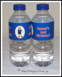 Water Bottle Labels #Fireman #Fire #Man #Sam #Birthday #Bunting #Party #Decorations #Ideas #Banners #Cupcakes #WallDisplay #PopTop #JuiceLabels #PartyBags #Invites #KatieJDesignAndEvents #Personalised #Creative