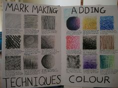To practise different markmaking techniques i drew lots of 5cm squares on some A3 paper and used different mediums in each square, and a...