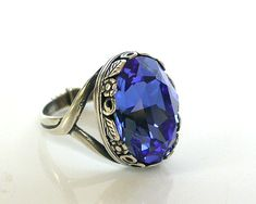 Victorian Gothic Silver Ring - Sapphire Swarovski Ring - Victorian Gothic Jewelry on Etsy, $49.83