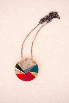 Geometric hand painted pendant multicolor  Large by vickygonart