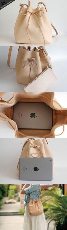 Handmade Leather shoulder bag bucket bag beige for women leather shoulder bag
