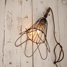 Industrial Rustic Wire Flower Wall Light / Pendant Lamp - Deevika by Nkuku Vintage Industrial Lighting, Rustic Industrial, Vintage Lamps, Industrial Design, Pendant Lamp, Pendant Lighting, Light Pendant, Cage Light, Cotton Lights