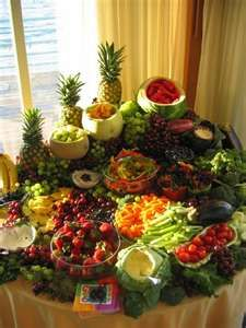 Fruit and Veggie Table. That's all I need! Esp. if the wedding's on a Saturday.