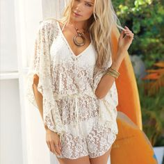 ELAN Ivory Crochet Lace Knit Butterfly Sleeve Romper Tie Back Beach Cover Up S-L #Elan #Romper