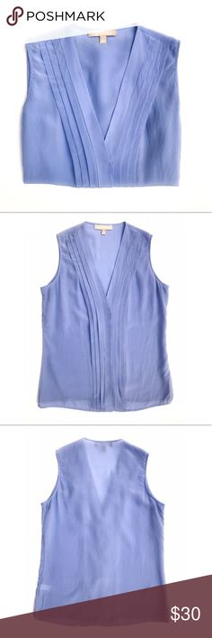 🍌BR Pale Periwinkle Blue Silk Top Beautiful Pleated V-Neck Silk Sleeveless Blouse with a hidden button front. In a beautiful shade of light blue that is perfect for anytime of year. Great to wear alone or layer under a sweater, cardigan, or suit. Fitted through the chest, relaxed through the waist. Hits at hip. EUC. Banana Republic Tops