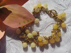 Yellow Jade Charm Bracelet Dangle Bracelet by MoonwitchDesigns, $20.00