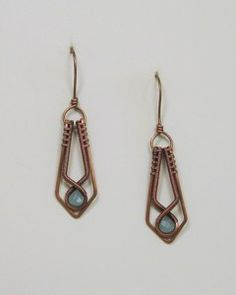 Coiled Copper Wire Hand Crafted Earrings With Turquoise Accent | BDJDesigns - Jewelry on ArtFire