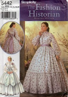 Simplicity 5442 Fashion Historian Martha McCain Misses Civil War  Dress Sewing Pattern by mbchills,