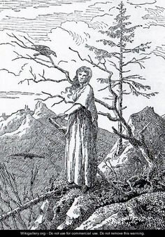 Caspar David Friedrich. 1801. The Woman with the Raven at the Abyss