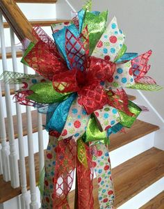 Christmas Tree Topper Bow Red Turquoise  by SouthernWreathsAL