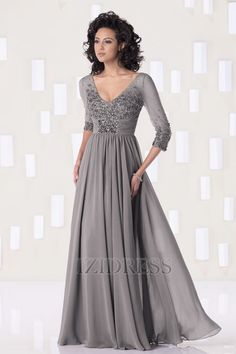 A-Line/Princess V-neck Floor-length Chiffon Mother Of The Bride Dress....I like this, I wonder if my mom would like it?