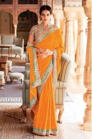 Laxmipati Brasso Designer Saree In Dark Yellow Colour