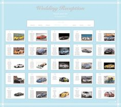 Super car themed wedding table plan can be adjusted to suit your wedding colours!