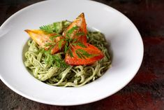 Carrot Top Pesto, Brown Rice Noodles, Thumbelina Carrots #Fresh #GlutenFree #SummerSoiree