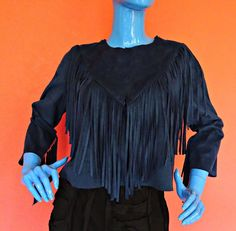 Blue Faux Suede Leather Jacket Moleskin Fringe Short 6 S 36 Open Front Pioneer  #Amisu #BasicJacket #Casual
