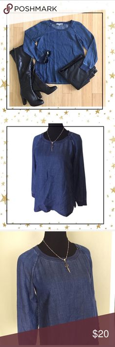 LOFT Denim Top (VG23NJ4K) I think this top could fit bigger size then XS , see pictures for measurement. Round neck, long sleeve . Offers welcome. No trade LOFT Tops
