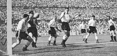 26th June 1954. Uruguayan winger Carlos Borges goal goes through England defenders Bill McGarry, Billy Wright, Ron Staniforth, Roger Byrne and Jimmy Dickinson and leaves goalkeeper Gil Merrick totally unsighted during the World Cup Quarter Final, in Basle.