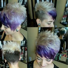 Asymmetrical pixie cut & color by Haley Guy @tanglessalonspa