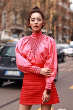 Turning up the color and sleeve volume during Milan Fashion Week. (Photo: Craig Arend for The New York Times)