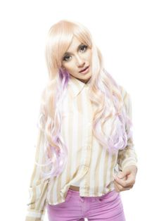 Long Wavy Heat Resistant Synthetic Costume Wigs with Light Purpule Ends$29.99