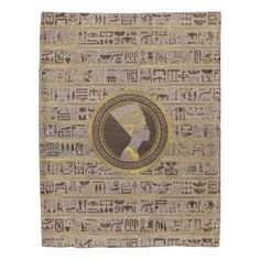 Pyrographed Golden Nefertiti on wood Duvet Cover - wood gifts ideas diy cyo natural