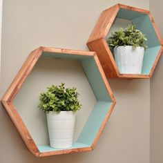 Create your own storage with these easy-to-make geometric wall shelves! - I would combine them together to make a honeycomb like shelf