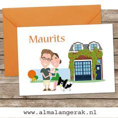 Geboortekaartjes voor Maurits. #geboortekaartjes #woonhuis #woning #hond #collie #huisdier #herfst #geboortekaartje #portret #cartoon #bordercollie