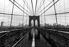 Brooklyn Bridge symmetry & skyline by Sweetmango on @creativemarket  bw, brooklyn bridge, tourist, love, empty, black and white, classic, nyc, art, home decor, poster, brooklyn bridge poster, rain,