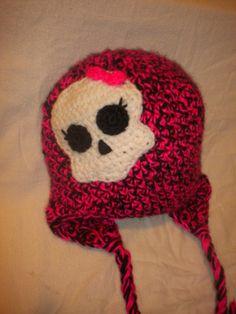 Crocheted Monster High inspired Ear Flap hat Free Skullette Pattern at  http://www.ravelry.com/patterns/library/skull-pattern-monster-high-inspired