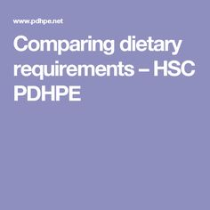 Comparing dietary requirements – HSC PDHPE