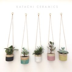 SOLD OUT Turquoise handmade ceramic stoneware hanging planter, small - PRE-ORDER FOR May shipping Turquoise handmade ceramic - Ceramic Planters, Planter Pots, Succulent Planters, Planter Ideas, Plantas Indoor, Decoration Plante, Stoneware Clay, Ceramic Clay, Hanging Planters