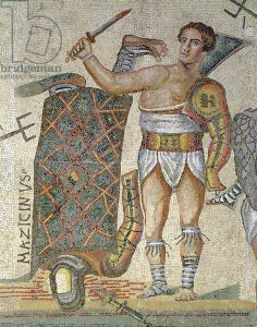 Battle between Gladiators, detail of a victorious gladiator, 320 AD (mosaic), Roman, (4th century AD) / Galleria Borghese, Rome, Italy / Alinari / The Bridgeman Art Library
