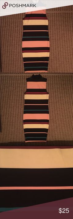 Stripped Body Con Dress (NWOT) Long Maxi Body Con Dress. Never worn. Thick material. Not Free People just tagged for views Free People Dresses Maxi