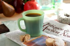 Fire King / Jadeite D-handle Mug. Doesn't this jadeite mug make that coffee look good?!!!
