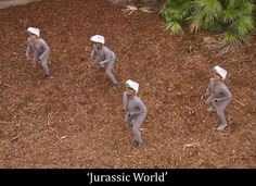 What if Jurassic World hadn't bothered to put the CGI in during post-production, and instead of a by-the-numbers action-adventure film we'd got a surrealist Jodorowskian fantasy about Chris Pratt being chased by feral men in grey morph suits? Jurassic World Raptors, Jurassic World 2015, Mad Max, Avatar Photo, Best Funny Pictures, Funny Images, Hilarious Photos, Random Pictures, Godzilla