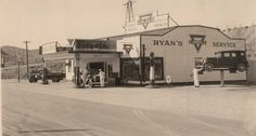 Ryan's Service Station at the Traffic Circle in Bisbee, Arizona during 1933.  Contributed by Annette Ryan Patalsky.