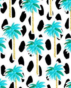 Palm Trees and Dots Art Print by Bouffants and Broken Hearts