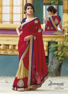 Combination of red  cream colored on marvel+georgette smoke saree's beauty enhance by its patches  blouse.