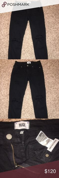 Paige Verdugo Ultra Skinny Black Distressed Jeans Perfect Condition. Machine washed a couple of times. Never thrown in dryer. Very stretchy and comfortable. Size 27. Paige Jeans Jeans Skinny