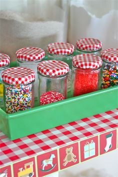 Recycling jam jars and filling them with sprinkles or other items:)